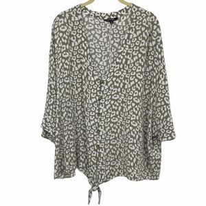 George XL tan neutral dotted slouchy button down
